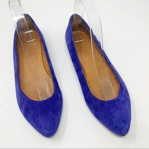 Madewell Blue Suede Pointed Ballet Flats Size 6.5